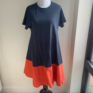 COS navy and coral tshirt dress - size XS